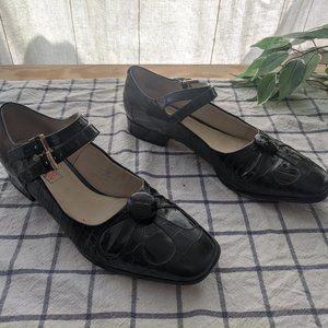 Clarks Orla Kiely Black Patent Leather Mary Janes